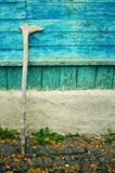 Old wooden crutch for the pensioner stock photo