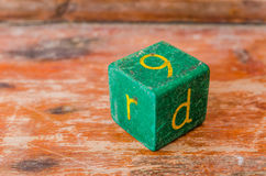Old wooden cube text Stock Photo