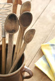 Old wooden cutlery Stock Image