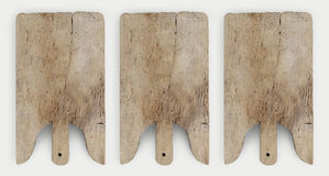 Old wooden cutting board isolated on white top view Stock Images