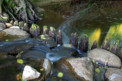Old wooden dam on the river Stock Photos