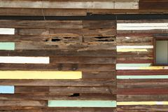 Teak wood wall. Old wooden decay wall of vintage house royalty free stock photo