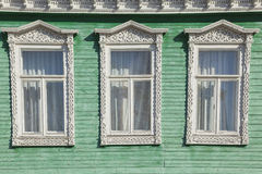 Old wooden decorated window Royalty Free Stock Photos