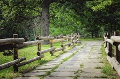 Old wooden decorative fence stock photo