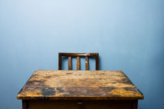 Old wooden desk and chair Royalty Free Stock Photography