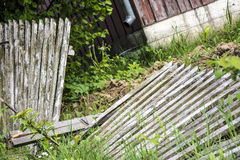 Old wooden destroyed fence Royalty Free Stock Images