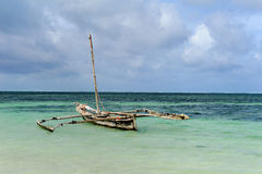 Old wooden dhow, fishing boats in the ocean Stock Images