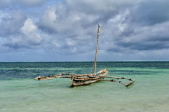 Old wooden dhow, fishing boats in the ocean Royalty Free Stock Photography