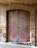 Old Wooden Diamond Double Door Stock Image