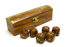 Old wooden dices with box Stock Photos