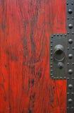 Old Wooden door. THe old red wooden door detail Stock Image