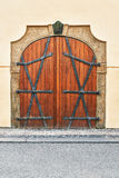 Old wooden door. Historic gate in the town house in Prague Stock Photography