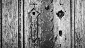 Old wooden door in black and white vignetting vintage style Royalty Free Stock Photos