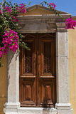 Old wooden door with bougainvillea flowers Stock Image