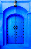 Old wooden door in Chefchaouen, Morocco, Africa Stock Images