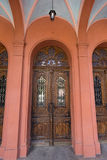 Old wooden door of the Christian church. Architecture Royalty Free Stock Photography