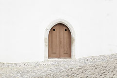 Old wooden door in a church Royalty Free Stock Photography