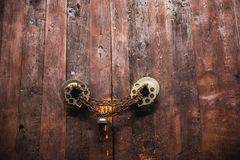 Old door close up. Old wooden door close up Royalty Free Stock Image