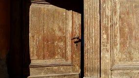 Old Wooden Door is Closing stock video footage