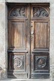 Old wooden door.  Detail from ancient door.  Stock Photos