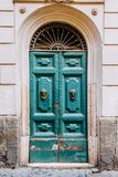 Old wooden door, entrance to the house. Stock Photo