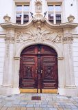 Old wooden door and facade.  royalty free stock images