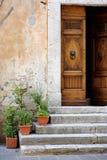 Old wooden door with flowers Stock Photos