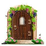 Old wooden door in the garden. Vector illustration Stock Photos