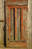 Old wooden door with a handle stock photo