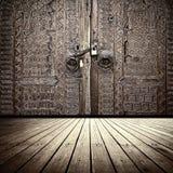 Old Wooden Door. And hardwood floor Royalty Free Stock Images