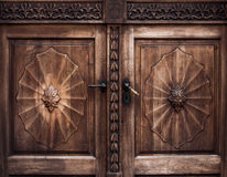 Old wooden door with iron handle. On the Prešeren square in Ljubljana, Slovenia stock photo