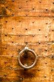 Old wooden door with knocker Stock Image