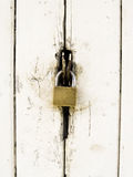 Old wooden door lock Stock Photos