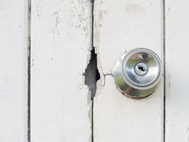 Old wooden door lock Stock Photography