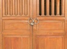 Old wooden door lock Stock Photo