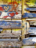 Old wooden door love grafitti Stock Photo