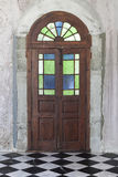 Old wooden door from medieval era found in Alsace region of Fran Royalty Free Stock Photo