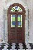 Old wooden door from medieval era found in Alsace region of Fran. Old  wooden door from medieval era found in Alsace region of France Royalty Free Stock Photo