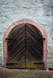 Old wooden Door on medieval House Stock Photo