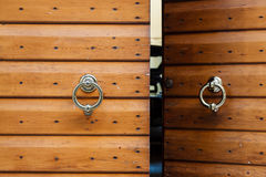 Old Wooden Door with Metal Knockers in Verona Royalty Free Stock Image