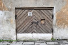 Old wooden door in old town Royalty Free Stock Photos