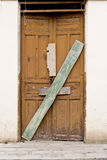 Old wooden Door in Old wall. Colonial Latin America royalty free stock photography