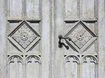 Old wooden door ornaments Royalty Free Stock Photo