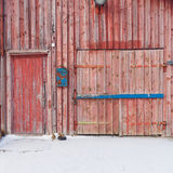 Old wooden door with padlock Royalty Free Stock Photography