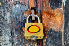 Old wooden door padlocks Royalty Free Stock Images