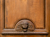 Old wooden door panel  with face Royalty Free Stock Image