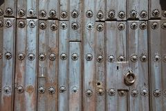 Old wooden door with pattern Stock Photo