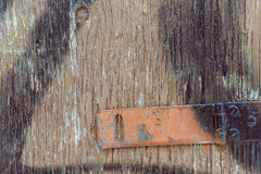 Old wooden door with red hinge Royalty Free Stock Photo