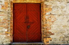 Old wooden door, red royalty free stock photo