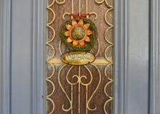 Old wooden door in Rethymnon. Stock Images